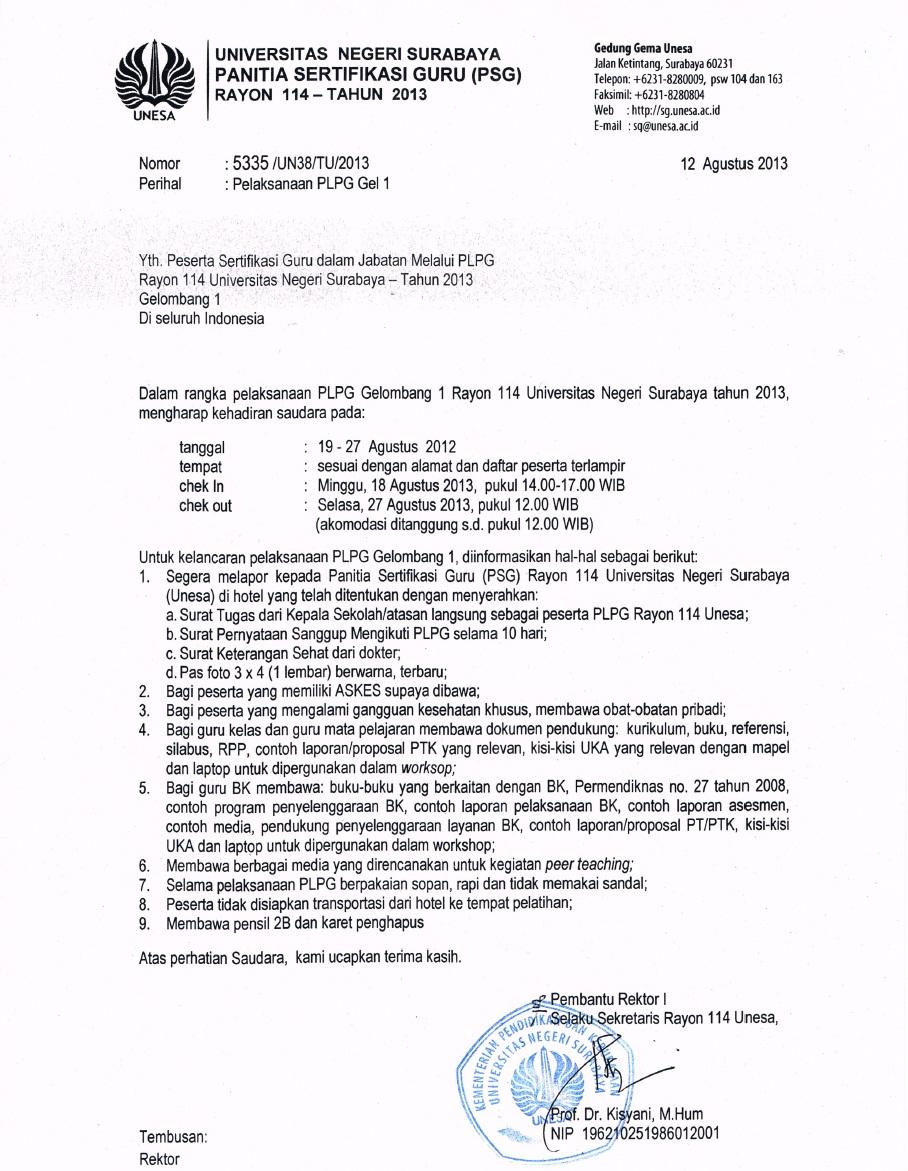 Jadwal PLPG 2013 Gelombang I